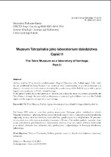 Muzeum Tatrzańskie jako laboratorium dziedzictwa. Część II