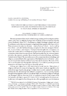 The state historical policy and the default religious heritage in Poland: on introducing pagan heritage to the public sphere in Kraków