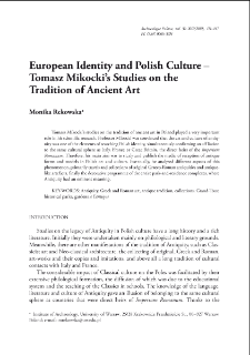 European Identity and Polish Culture – Tomasz Mikocki's Studies on the Tradition of Ancient Art