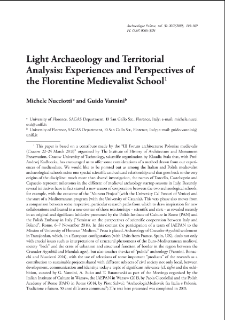 Light Archaeology and Territorial Analysis: Experiences and Perspectives of the Florentine Medievalist School