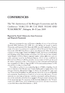 """Archaeologia PolonaThe 75th Anniversary of the Biskupin Excavations and the Conference """"BISKUPIN IN THE PAST, TODAY AND TOMORROW"""", Biskupin, 18–19 June 2009"""