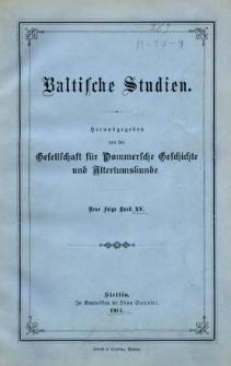Baltische Studien. Neue Folge Bd. 15 (1911)