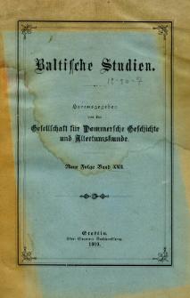 Baltische Studien. Neue Folge Bd. 22 (1919)