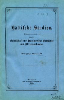 Baltische Studien. Neue Folge Bd. 27 (1925)