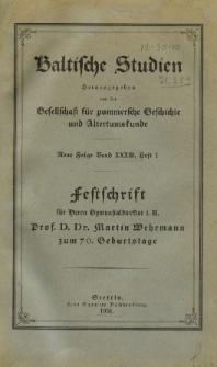 Baltische Studien. Neue Folge Bd. 33, z. 1 (1931)