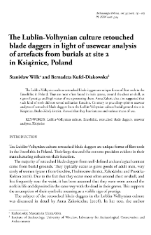 The Lublin-Volhynian culture retouched blade daggers in light of usewear analysis of artefacts from burials at site 2 in Książnice, Poland
