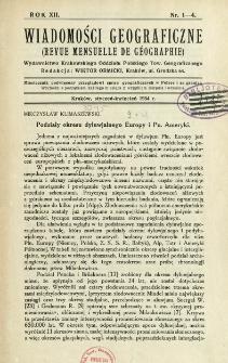 Wiadomości Geograficzne R. 12 (1934), Spis treści
