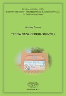 Teoria nazw geograficznych = Theory of geographical names