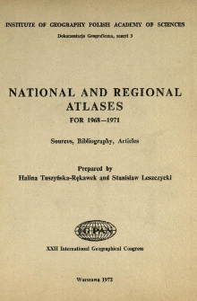 National and regional atlases : sources, bibliography, articles : for 1968-1971