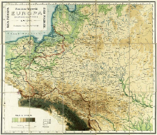 Europa Środkowa-Wschodnia : mapa fizyczna ziem polskich
