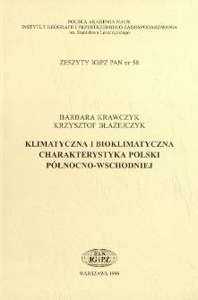 Klimatyczna i bioklimatyczna charakterystyka Polski północno-wschodniej