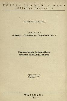 Charakterystyka hydrograficzna Regionu Podtatrzańskiego