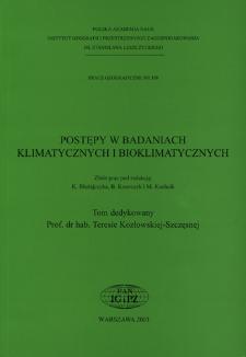 Postępy w badaniach klimatycznych i bioklimatycznych : zbiór prac = Progress in cllimatic and bioclimatic research