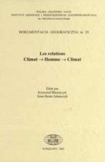 Les relations climat -> homme -> climat