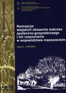 Koncepcja wiejskich obszarów sukcesu społeczno-gospodarczego i ich rozpoznanie w województwie mazowieckim