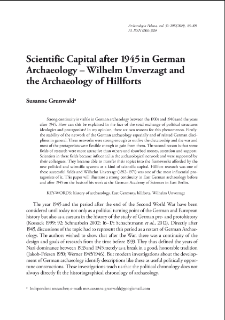 Scientific Capital after 1945 in German Archaeology – Wilhelm Unverzagt and the Archaeology of Hillforts