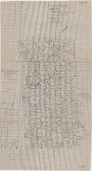 KZG, VI 602 AC, plan archeologiczny wykopu, konstrukcja wału – ława kamienna