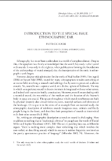 Introduction to the special issue ethnographic ear
