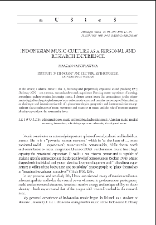 Indonesian Music-Culture as a Personal and Research Experience