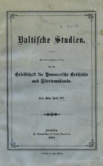 Baltische Studien. Neue Folge Bd. 14 (1910)