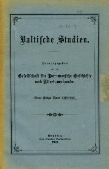 Baltische Studien. Neue Folge Bd. 24/25 (1922)