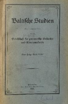 Baltische Studien. Neue Folge Bd. 35 (1933)