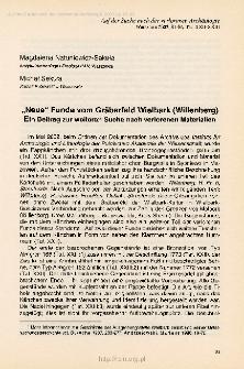 """""""Neue"""" Funde vom Gräberfeld Wielbark (Willenberg) : ein Beitrg zur weiteren Suche nach verlorenen Materialien"""