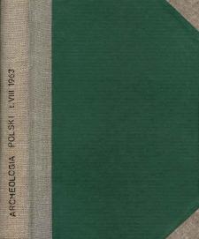 Archeologia Polski. Vol. 8 (1963) No 1, Spis treści