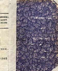 Archeologia Polski. Vol. 5 (1960) No 2, Spis treści