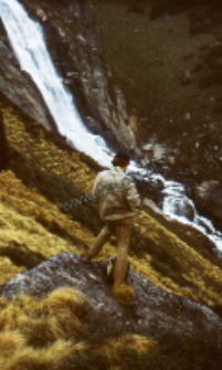 Mountain waterfall in the Himalayas (Iconographic document)