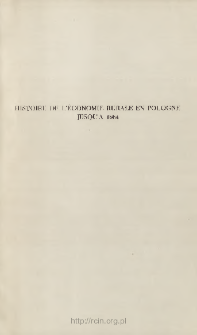 Histoire de l'économie rurale en Pologne jusqu'a 1864