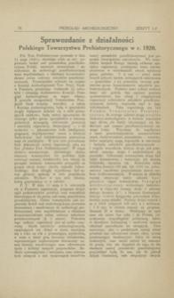 Sprawozdanie z działalności Polskiego Towarzystwa Prehistorycznego w r. 1920