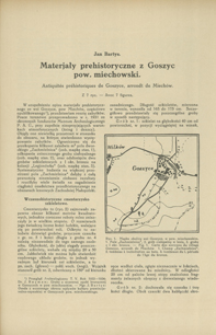Materjały prehistoryczne z Goszyc, pow. miechowski