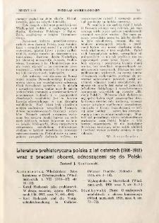 Literatura prehistoryczna polska z lat ostatnich (1916-1918) wraz z pracami obcemi, odnoszącymi się do Polski