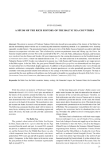 A Study of the Rich History of the Baltic Sea Countries