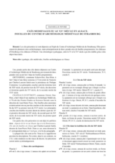 Clés medievales IXe au XVe siècle en Alsace. Fouilles du Centre d'Archéologie Médiévale de Strasbourg