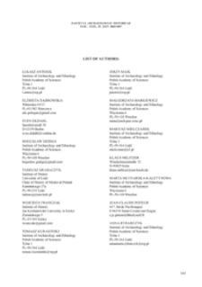 List of authors