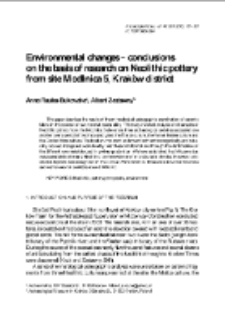 Environmental changes – conclusions on the basis of research on Neolithic pottery from site Modlnica 5, Kraków district