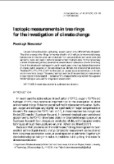Isotopic measurements in the rings for the investigation of climate change