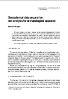 Geotechnical data acquisition and analysis for archaeological appraisal