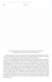 Obchody jubileuszu 70. urodzin i 40-lecia pracy naukowej Profesora Aleksandra Posern-Zielińskiego
