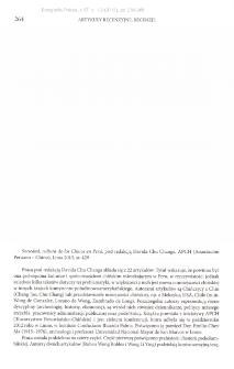 Sociedad, cultura de los Chinos en Peru, pod redakcją Davida Chu Changa, Lima 2013 : [recenzja]