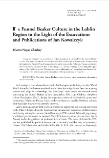 The Funnel Beaker Culture in the Lublin Region in the Light of the Excavations and Publications of Jan Kowalczyk