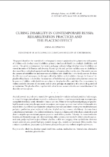 Curing Disability in Contemporary Russia: Rehabilitation Practices and the Placebo Effect