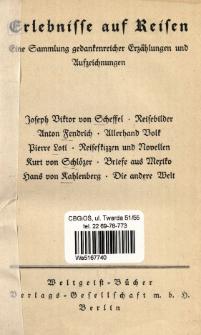 Erlebnisse auf Reisen : eine Sammlung gedankenreicher Erzählungen und Aufzeichnungen.