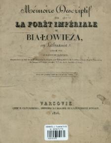 Mémoire descriptif sur la forêt impériale de Białowieża en Lituanie