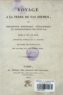 Voyage a la terre de Van Diemen, ou description historique, géographique et topographique de cette ile