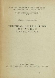 Vertical distribution of world population = Pionowe rozmieszczenie ludności na kuli ziemskiej = Vertikal'noe razmeščenie naselenija zemnogo šara