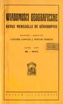 Wiadomości Geograficzne R. 3 (1925), Spis treści