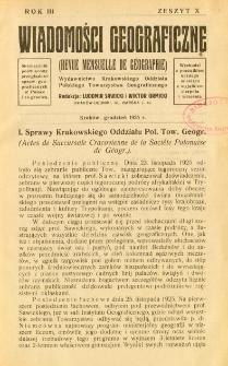 Wiadomości Geograficzne R. 3 z. 10 (1925)